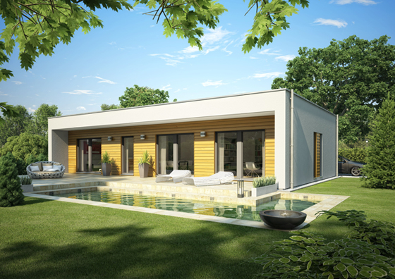 Zuerst wurden die neuen Flachdach-Bungalow Entwürfe mit 2,80 Meter Decklenhöhe ausgestattet, dann die Stadtvillen und heute kann man in fast jedem neuen OKAL Haus den Raumgewinn genießen.